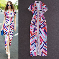 Multicolor Printed Lapel Collar Short Sleeves Front Slit Bodycon Maxi Dress