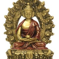 Small Nepali Buddha on Lotus Throne Gold and Red Figurine Statue