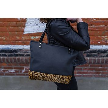 The Mercer Tote in Perforated Leather + Leopard