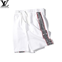 LV 2019 new side reflective logo men and women shorts White