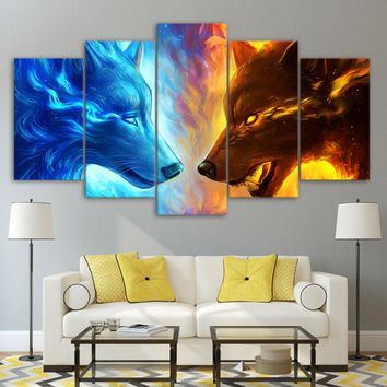Fire and Ice by JoJoesArt 5-Piece canvas art 2 wolf wolves Wall Art