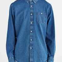 OBEY Commerce Dissent Long-Sleeve Woven Button-Down Shirt- Blue