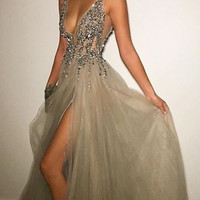 Split Neckline Backless Prom Dress, Long Split Dress for Prom