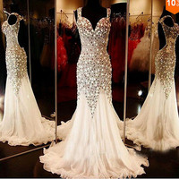Luxury crystal mermaid Formal Prom Dresses Party Evening Pageant Wedding Gown F1