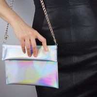 Holographic Golden Chain Foldover Envelope Clutch Shoulder Bag Metallic Matte Silver Vegan Patent PU Leather Medium Purse Handbag Satchel