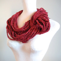 Oxblood Circle Scarf Chunky Deep Red Infinity Scarf White Navy Stripes Winter Accessories Gifts Under 75 Black Friday Etsy Cyber Monday Etsy