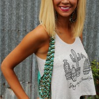 """""""Stay Strong and Beautiful"""" Cactus Crop Top"""