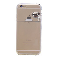 """BJS iPhone 6s Case, Cute Pet Dog Pattern Super Thin Soft Case Slim Fit for Apple iPhone 6s (2015) / iPhone 6(2014) 4.7"""" with Screen Protector and Stylus(Pug)"""