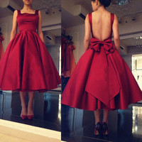 Red Open Back Short Party Dresses A-Line Tea Length Bowknot Homecoming Dress