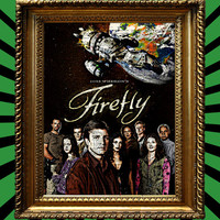 Joss Whedon's Firefly Show Cast over Space with Serenity in the background Poster Awesome Upcycled Vintage Dictionary Page Book Art Print