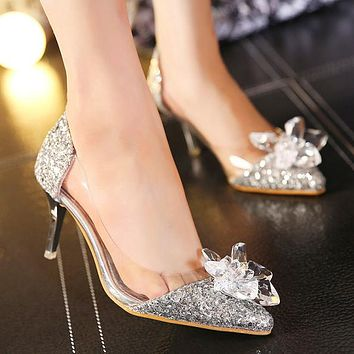 New pointed rhinestone high-heeled crystal shoes with transparent sequins and low-top women's shoes