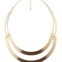 Gold Matte Metal Cut-Out Choker Necklace by Charlotte Russe