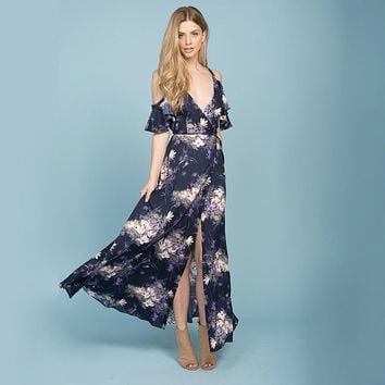 She Swings Navy Floral Maxi Dress