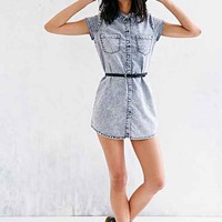 Glamorous Acid-Wash Button-Down Tunic- Vintage Denim Light