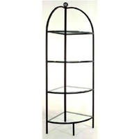 "18"" Curved Wrought Iron Corner Bakers Rack Metal Finish: Cobblestone"