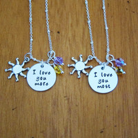 I love you more. I love you most. Rapunzel Mother daughter necklaces. Friendship necklaces. Sister necklaces. Mother's Day Gift.