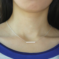 gold, Silver Bar Pendant Necklace Simple Bar Jewelry