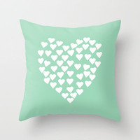 Hearts Heart White on Mint Throw Pillow by Project M | Society6