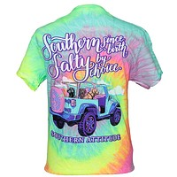 Southern Attitude Salty By Choice Jeep Tie Dye T-Shirt