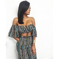 Stripped Crop Top Two Piece Set
