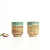 Small Pottery Cups -- Vintage Stoneware Cups -- Japanese Tea Bowls, Wine or Sake Cups -- Tan with Blue Green Drip Glaze  -- Pair of Two