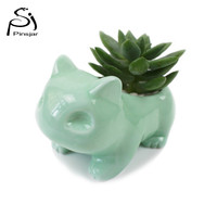 Kawaii Pokemon Ceramic Flowerpot Bulbasaur Planter Cute White / Green Succulent Plants Flower Pot with Hole Cute Dropshipping