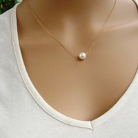 Fashion Women's Pearl Pendant Necklace Choker Necklace