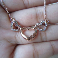Heart necklace, carved love letters, inlaid crystal diamond, deep love, rose gold, white gold necklace, exquisite, elegant, best gift,