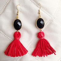 UGA Spirit Wear Black and Red Earrings with Tassels