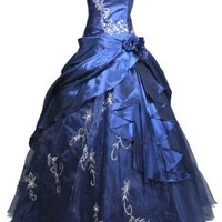 Faironly Strapless #M37 Formal Prom Dress Gown (XS, Navy Blue)