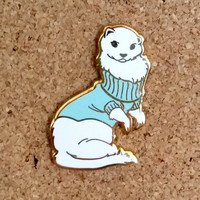 Ferret in Turtleneck Sweater Hard Enamel Pin - Blue, White, and Gold - Lapel Pin