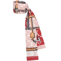 Onewel LV 2019 new classic old flower pattern female hair band small scarf red