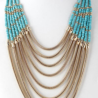 Beaded Side Chain Wire Statement Necklace
