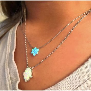 Blue Opal Star Necklace