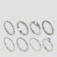 ASOS Pack of 8 Woven Band and Stone Rings at asos.com