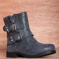 Dollhouse Footwear Roadside Attraction Two Strap Burnout Motorcycle Boots Command - Black