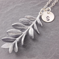Silver Branch Necklace, personalized jewelry, initial necklace, monogram necklace, tree of life, nature jewelry, botanical jewelry, N21