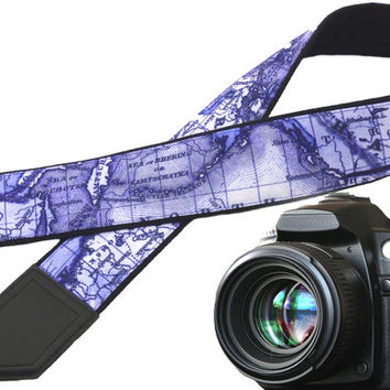 North America, Europe, Asia (Russia) map camera strap. World map camera strap. Purple. White. Personalized gifts for travelers by InTePro
