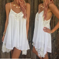 Sexy Women Casual Summer Cocktail Party Sleeveless Lace Short Mini Dress XL CNPM