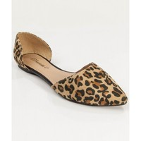 Women Fashion Designer Inspired Pointy Toe D'orsay Flat LEOPARD