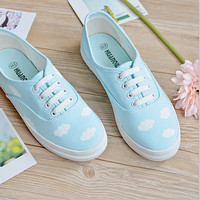Sweet clouds flat canvas shoes