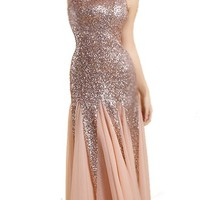 Women'S One Shoulder Bridal Veil Sequined Maxi Dress Fishtail Skirt Orangepink