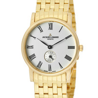 JACQUES LEMANS Women's White Dial Gold Plated 10 Mic Stainless SteelJACQUES LEMANS GU115R Watch