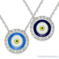 Evil Eye Pendant Turkish Nazar Greek Hamsa Kabbalah Luck Charm Silver Necklace