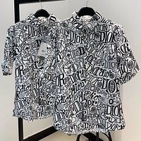 Dior Summer New Fashion More Letter Print Women Men Top Shirt
