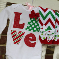 Baby Girl Christmas Outfit -- *Christmas Love* bodysuit and leg warmers - red and green chevron and polka dots - Order by 12/9