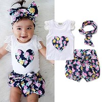 2017 new hot summer Toddler Kids Baby Girls Outfits Clothes T-shirt Tops+Pants/Shorts/Skirt 2PCS Set