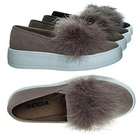 Hestia Faux Fur Pom Round Toe Slip On Fashion Sneaker.