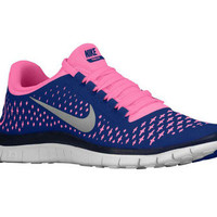 NEW WOMENS NIKE FREE RUN + 3.0 V4 RUNNING SHOES 3 TRAINERS ROYAL / PINK 6