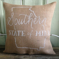 Burlap Pillow - Southern State of Mind, Georgia Pillow  - Made to Order